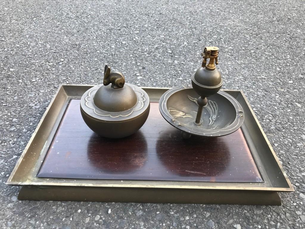 真鍮製の灰皿セット