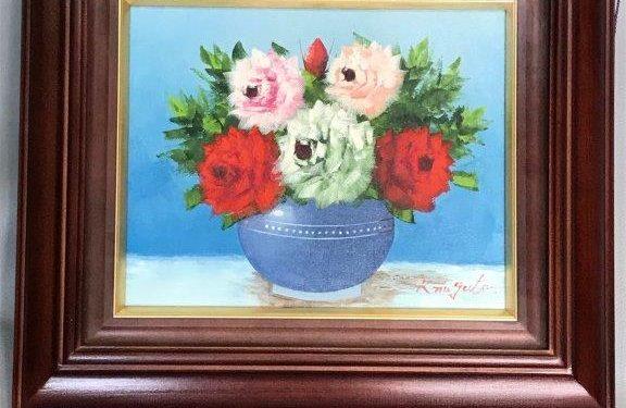 永田金吾の油絵「バラ」