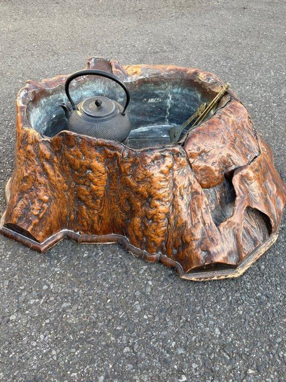 天然木のくり抜き火鉢を買取
