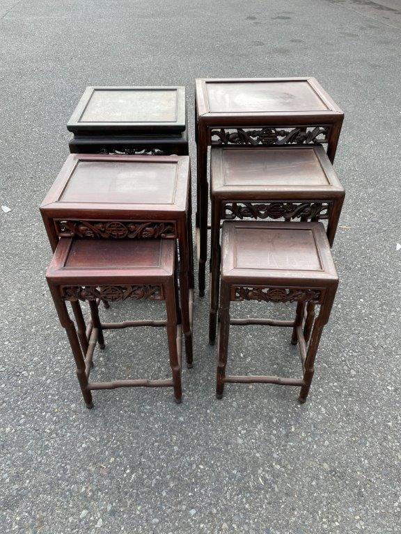 花梨材のネストテーブル